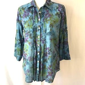 IZOD Top Blouse Button Down Blue Floral Medium